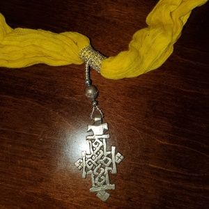 Accessories - Authentic yellow Ethiopian scarf with cross